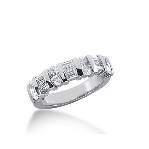 6 Tapered Baguettes (18K Gold Diamond Anniversary Wedding Ring 4 Oval Shaped, 3 Straight Baguette, 6 Tapered Baguette Diamonds 1.45ctw 222WR102518K - Size 4.75)
