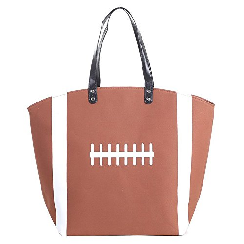 SODIAL Large Baseball Tote Bag Sports Prints Utility Tote-football gNoFeAKyU