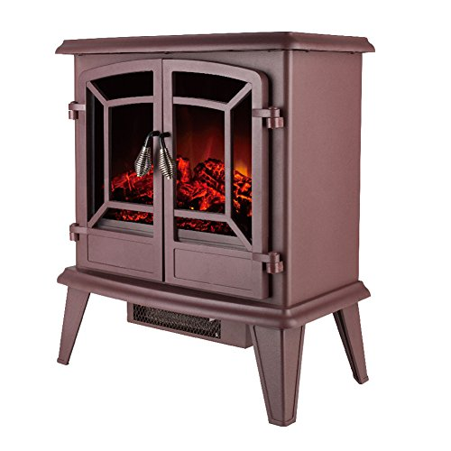 "Allsees 20"" Electric Fireplace Stove Portable Freestanding Tempered Glass Electric Fireplace Heater, Adjustable Heat Level (Brown)"