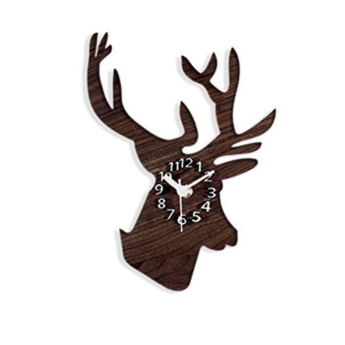 Deer Wall Clock - WINOMO Silent Wall Clock Cool Rural Wooden Deer Head Clock Wall Decoration Gift (Brown)