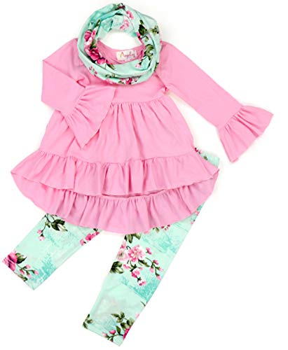(Boutique Little Girls Spring Colors Easter Floral Top Leggings Outfit Set Pink Mint Floral Flowers 10-12 Years)