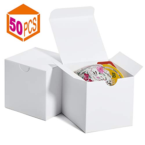 MESHA Gift Boxes 3 x 3 x 3 Inches, Paper White Boxes with Lids for Gifts, Crafting, Cupcake Packaging Boxes (White-50Pcs) (Mini Boxes White)