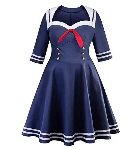 EL LEGANT Women's Sailor Costume Plus Size 3/4 Sleeve (5X-Large) Navy Blue ()