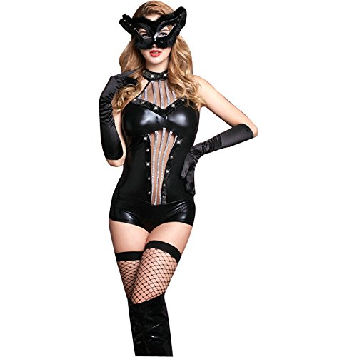 Naughty Catwoman Costume (Sbra Women Mens Naughty Costume Outfit Lingerie See-through Babydoll Dress (Catwoman (woman)))