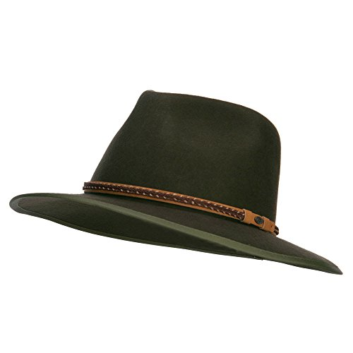 (Jeanne Simmons Men's Wool Felt Outback Hat - Olive OSFM)