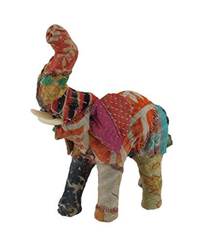Zeckos Vintage Sari Fabric Covered Paper Mache Elephant Scul