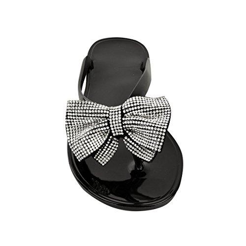 Mode Törstig Kvinna Diamante Platt Gelé Sandals Sommar Flip Flops Toe Post Storlek Svart Jelly
