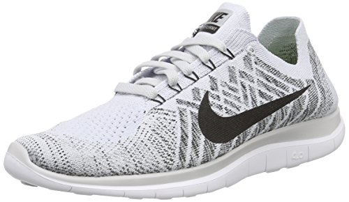 Nike Men's Free 4.0 Flyknit Running Shoe, Pure Platinum/Blk/White/Cl Gry, Size 10.5 D(M) US