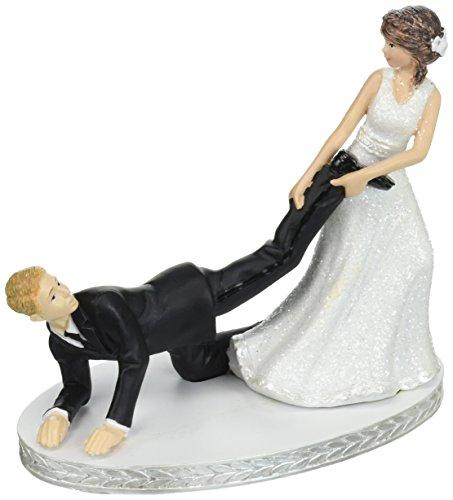Amscan Elegant Wedding Comical Party Supplies (2 Piece), Leg Puller Cake Topper, 4 (Puller Leg)