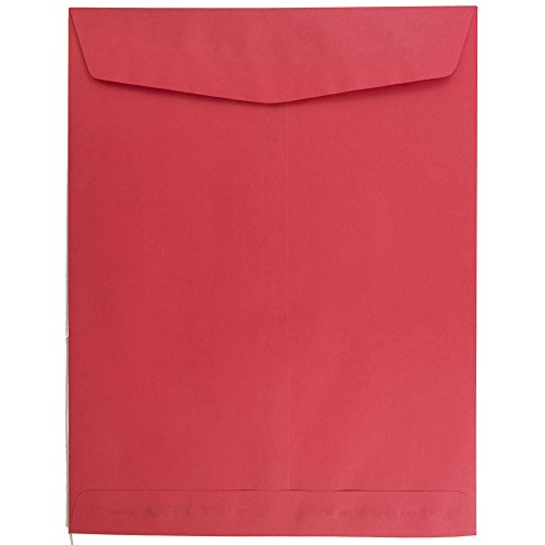 JAM PAPER 10 x 13 Open End Catalog Colored Envelopes - Red Recycled - 100/Pack