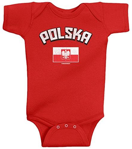 (Threadrock Unisex Baby Polska Polish Flag Bodysuit 18M Red)