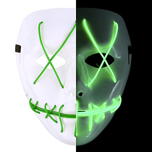 Ankuka Frightening Wire Halloween Glowing Mask, Scary Cosplay LED Light up Masks for Gifts, Costume Parties, Dance, Carnival or Club(Green) -