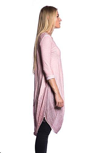 Abbino 5256 Camisa de manga larga básica para Mujeres - Hecho en ITALIA - Colores Variados - Entretiempo Primavera Verano Otoño Mujeres Femeninas Delicado Elegantes Manga Larga Fiesta Rebajas Rosa (Art. 5268)