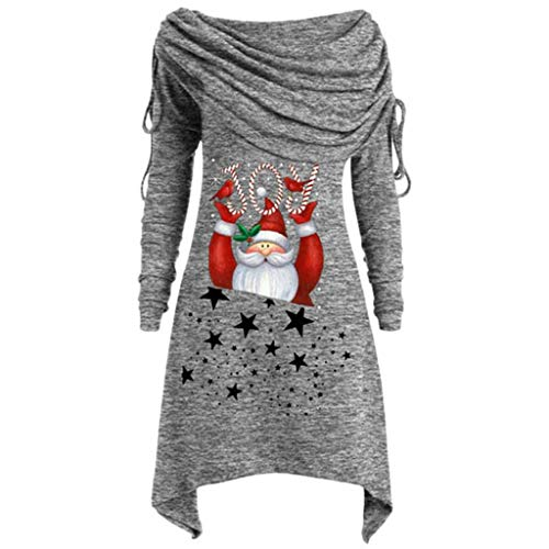 Women's Plus Size Christmas Tops,QueenMM Casual Long Sleeve Santa Claus Print T-Shirt Pullover Off -Shoulder Tunic - Sl Canister