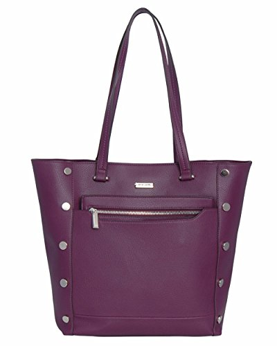 Kenneth Cole Reaction Womens Bedford Faux Leather Shopper Handbag Purple Large
