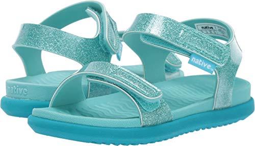 Native Kids Shoes Baby Girl's Charley Glitter (Toddler/Little Kid) Pool Blue Glitter/Pool Blue/Peacock Green 4 M US -