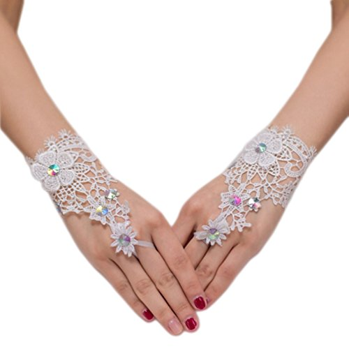Short Fingerless Crystals Wedding Gloves Wrist Length Lace Appliques White