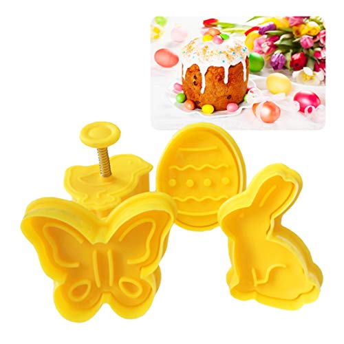 Fondant Cake Decorating Tools 4Pcs/set Easter Bunny Rabbit Plastic Baking Mold Kitchen Biscuit Cookie Cutter Pastry Plunger