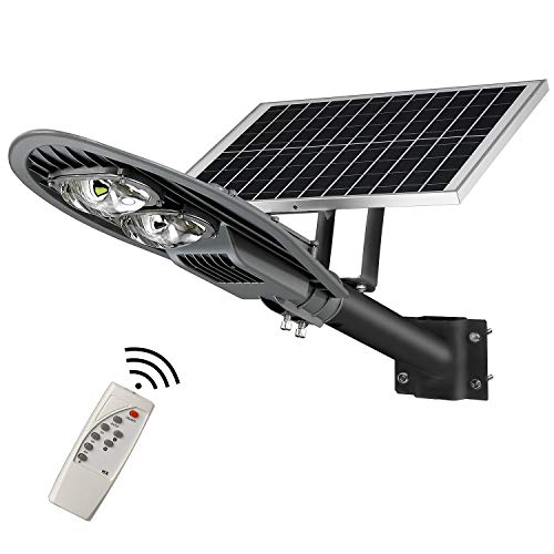 LOVUS 80W LED Solar Street Lights IP65 Waterproof 8000LM Solar Lights Outdoor, Security Area Night Lighting for Gutter, Patio, Pathway, Garage Super Stable Performance, ST80-007