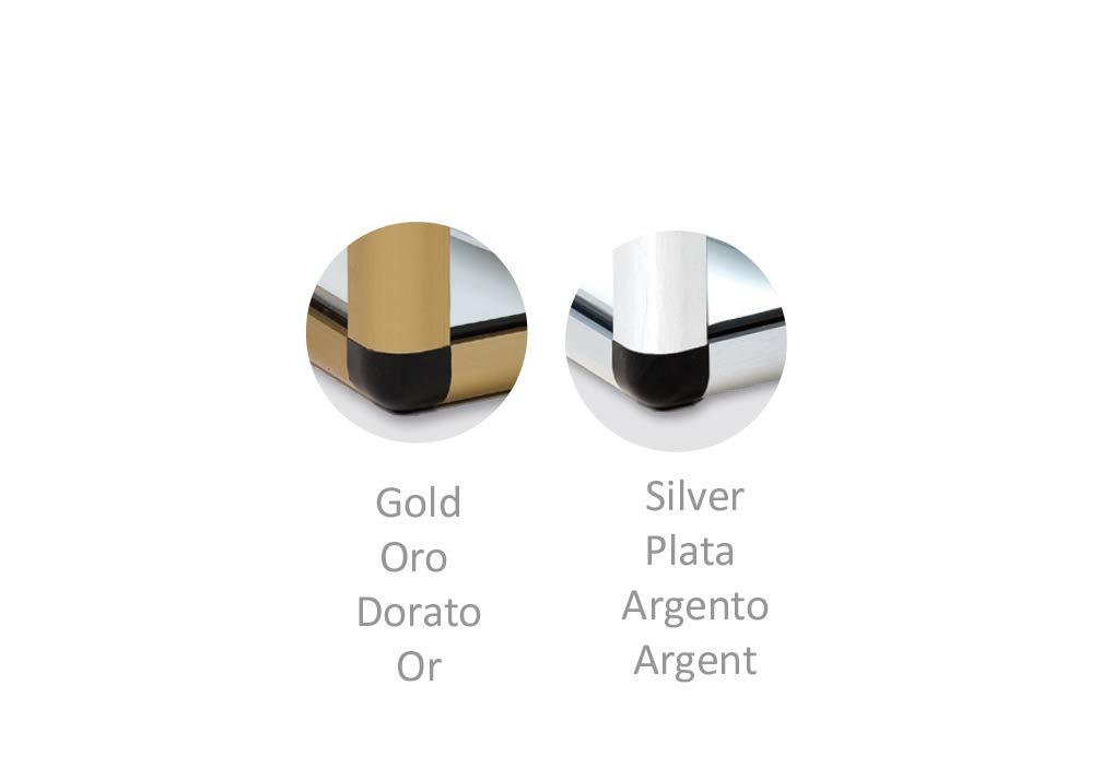 Vetrina professionale neutra in alluminio dorato vetro retto 1060 x 280 x 160 mm