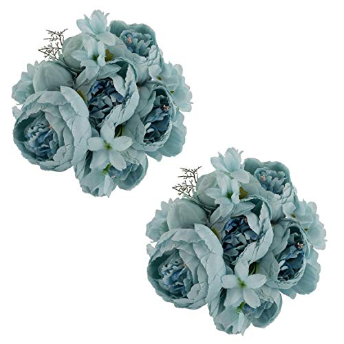EZFLOWERY 2 Pack Artificial Peony Silk Flowers Arrangement Bouquet for Wedding Centerpiece Room Party Home Decoration, Elegant Vintage, Perfect for Spring, Summer and Occasions (2, Grey Blue) ()