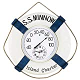 22 in. W SS Minnow Thermometer and Clock