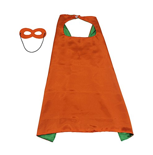 Superhero Diy Costumes Kids For (Kids Costumes, DIY Children Helloween Party Favors 1 Cape+1 Mask Double sided Orange+Green Color 27.5