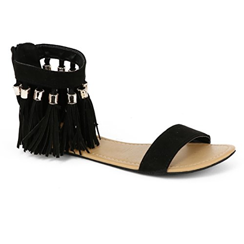 Chatties Womens Tassel Sandal Black Tassel 7LfTIKnWuS