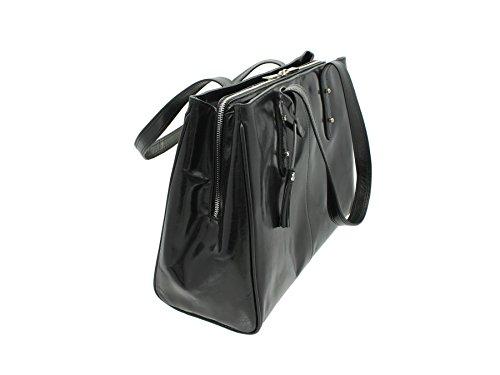Visconti italiana Vintage Collection SOFIA de trabajo de cuero A4 bolsa ITL80 bronceado oscuro negro