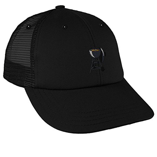 Charcoal Grill Embroidery Design Low Crown Mesh Golf Snapback Hat Black - Crown Charcoal Grill
