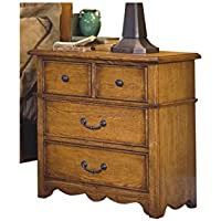 Hamlin Country 4 Drawer Nightstand in Natural Oak Wood