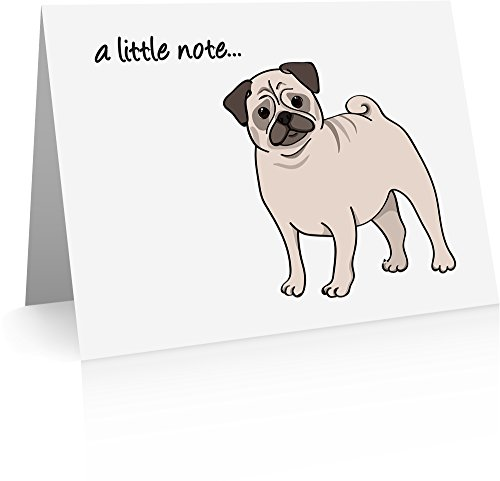 Pug Stationery - Pug Note Cards (24 Fold-over Cards and Envelopes)