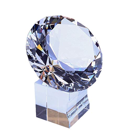 Shape Acrylic Paperweight (EOFEEL Large Diamond Crystal Glass Paperweight with Stand Home Office Decor gifes (3 in))