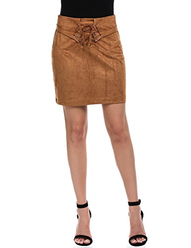 Zeagoo Women's Vintage Lace Up High Waist Bodycon Faux Suede Mini Skirt Brown L