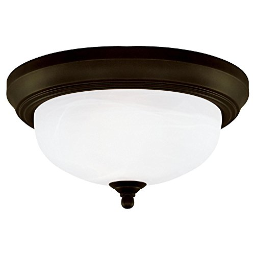 (Westinghouse 64291 13-Inch Two-Light Flush Mount Fixture, Oil Rubbed Bronze with Frosted White Alabaster Globe)