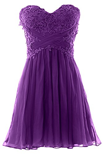 Formal Prom Chiffon Party Cocktail MACloth Mini Violett Lace Dress Strapless Gown Women wxqAOTS