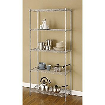 Artiva USA 68-inches 5-shelf Silver Grey Metal Wire Shelving Rack