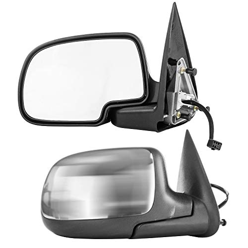 Driver and Passenger Side Mirrors for Avalanche Chevy Silverado GMC Sierra 1500 2500 HD 3500 (1999 2000 2001 2002) Chrome Non-Heated Folding Outside Rear View Replacement Door - Chrome Mirror Outside