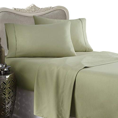 Waterbed Flannel Sheets - 1200 Thread Count Egyptian Cotton Attached WATERBED Sheet Set, Queen, Solid Sage