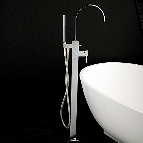 Floor-standing single-hole tub filler with one lever handle, two-way diverter, and hand-held shower with 59