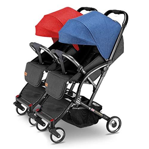Boyang Double Stroller, Twin Tandem Baby Stroller with Adjustable Backrest, Footrest, Foldable Design for Easy Transportation (Color : 1)
