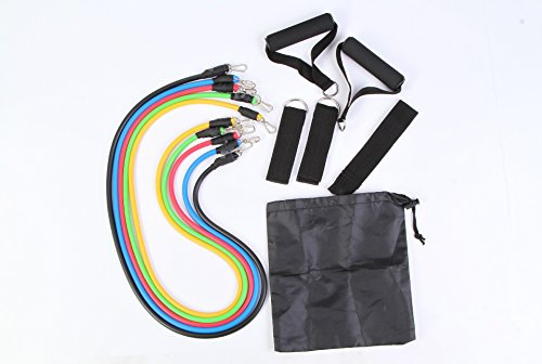 LIPOVOLT 11 PCS Resistance Bands Set for Fitness Exercise Yoga Pilates Abs Tube Workout by lipovolt