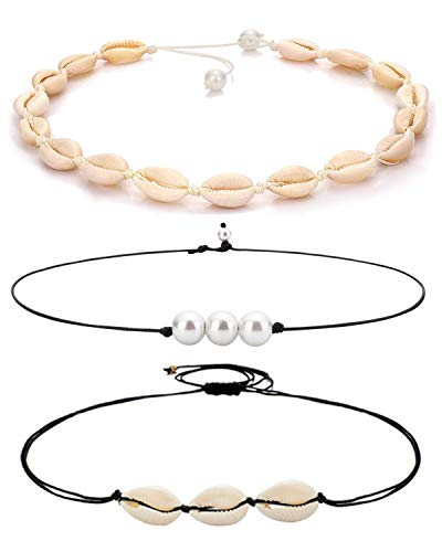ATIMIGO 3 Pack Natural Shell Choker Handmade Rope Pearl Hawaii Beach Necklace Jewelry for Women -