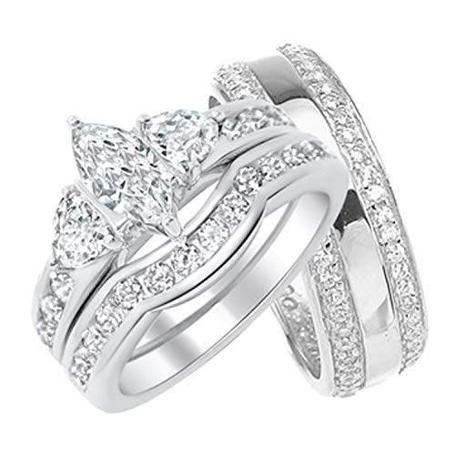 Ring Accented Trillion - His Hers Wedding Ring Set Matching Sterling Silver Bands for Him Her (8/10)
