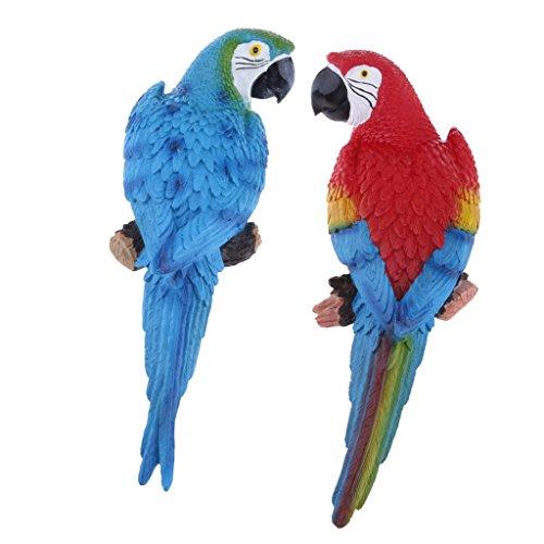 Blue Parrot Bird Animal - 1 Pair Realistic Large Parrot Lifelike Bird Ornament Resin Animal Model Statues DIY Lawn Sculpture Tree Decor 31cm Blue Look Right & Red Parrots