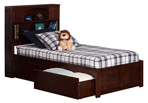 Atlantic Furniture AR8522114 Newport Platform Flat Panel Foot Board and 2 Urban Bed Drawers, Twin, Walnut