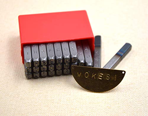 """Wokesi 5/32""""(4mm) Tall Letter Stamp Punch Set for Jewel Making/Steel Stamp Die Punch/Wood/Leather (4MM)"""
