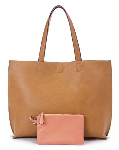 (Overbrooke Reversible Tote Bag, Light Brown & Coral - Vegan Leather Womens Shoulder Tote with Wristlet)