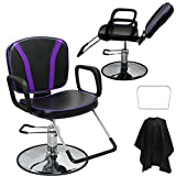 LCL Beauty Black with Purple Accent Reclining Hydraulic All Purpose Cutting & Shampoo Barber Salon Chair Beauty Spa Equipment