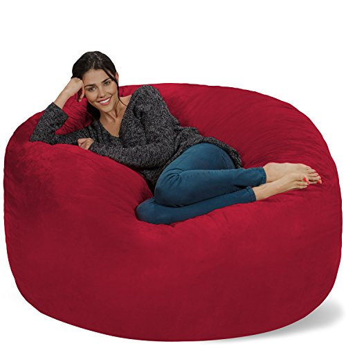 (Chill Sack Bean Bag Chair: Giant 5' Memory Foam Furniture Bean Bag - Big Sofa with Soft Micro Fiber Cover - Cinnabar)
